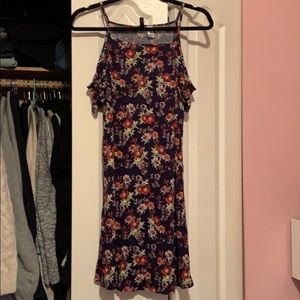 H&M Floral Cold-Shoulder Dress
